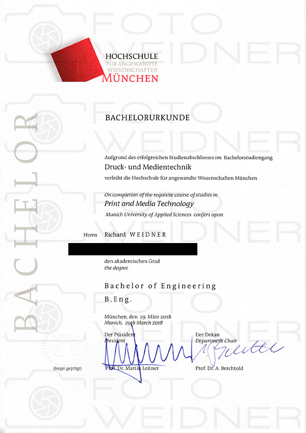 Richard Weidner Urkunde Bachelor of engineering