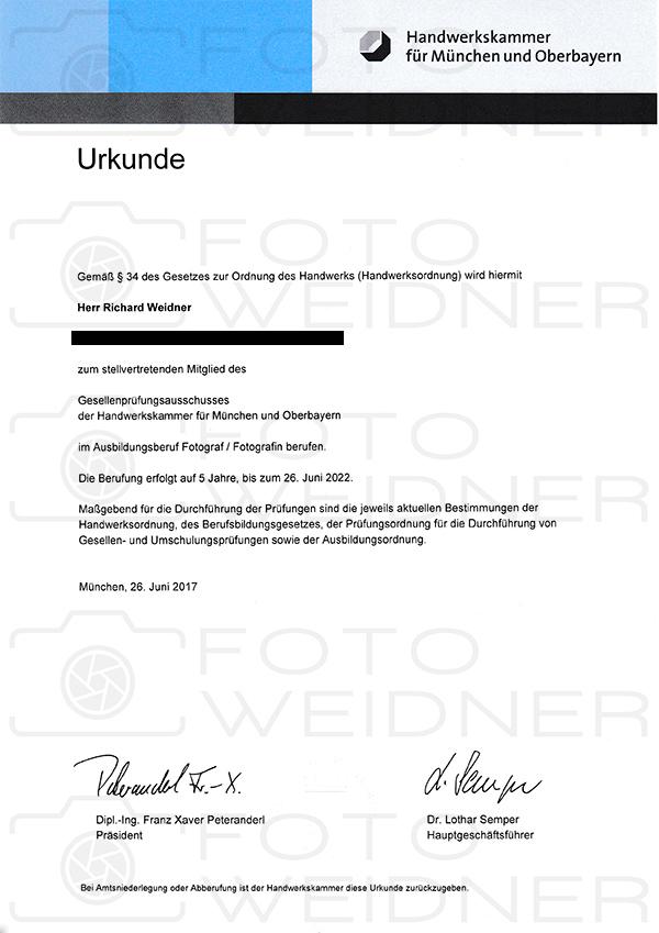 Richard Weidner Urkunde Prüfungsausschuss Fotografgengesellen