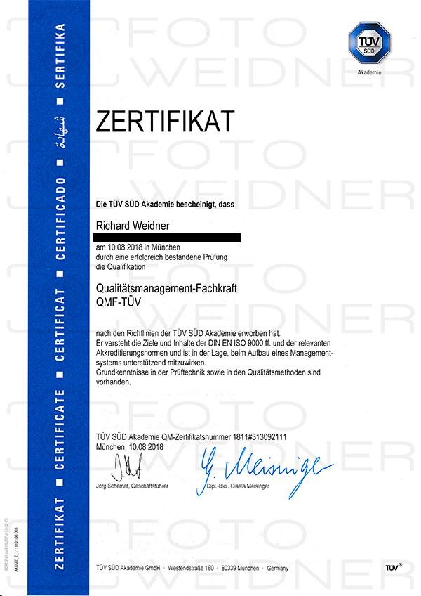 Richard Weidner Urkunde Qualitätsmanagement-Fachkraft