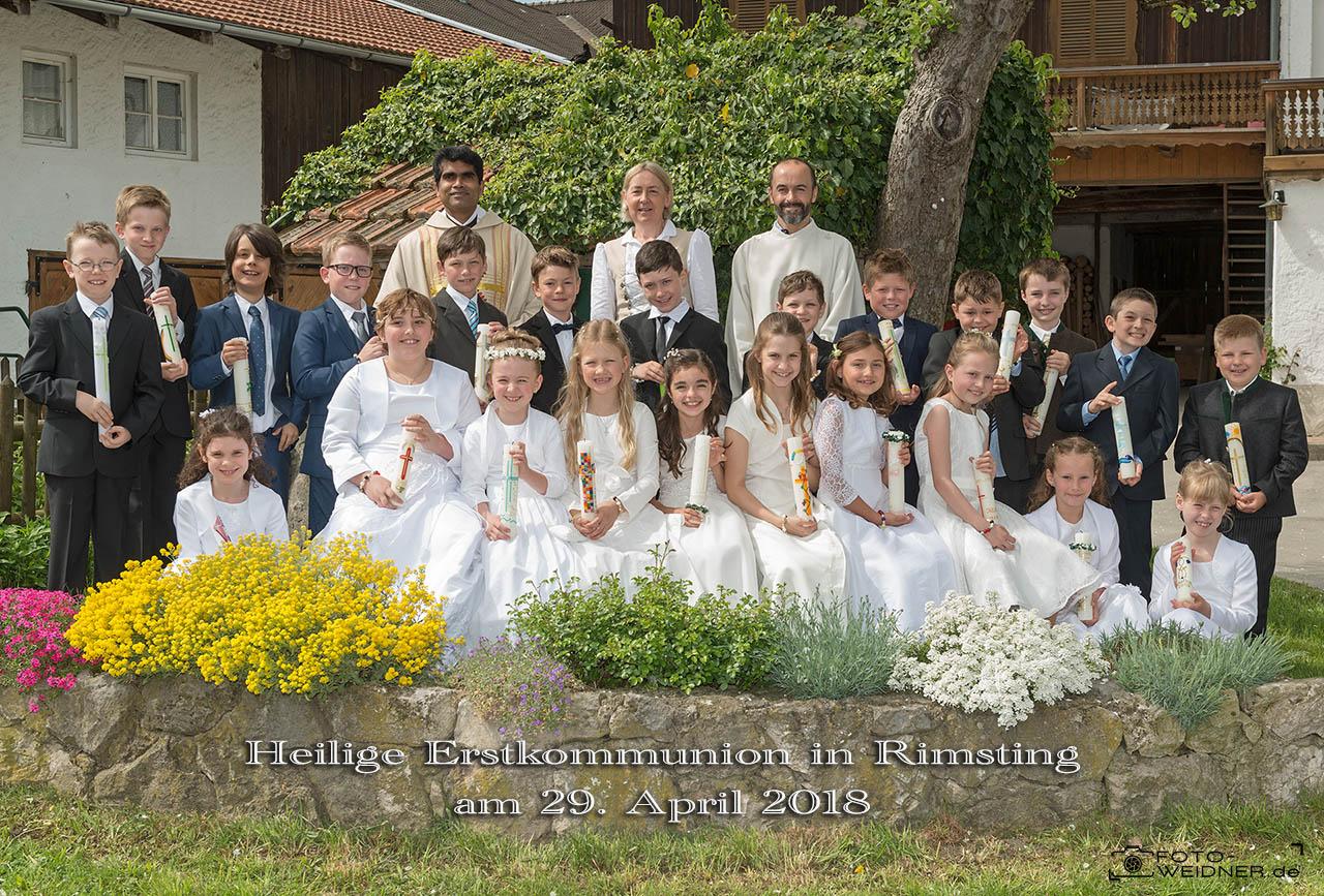 Gruppenfoto Erstkommunion Rimsting 2018