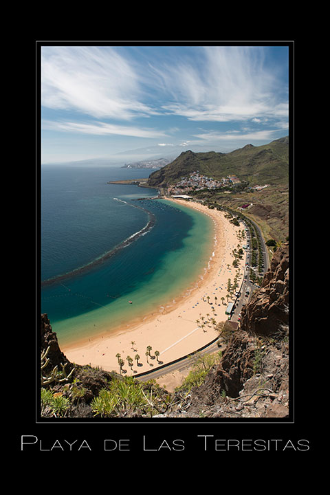 Landschaftsfotografie Blick auf Playa de las teresitas auf Teneriffa Spanien